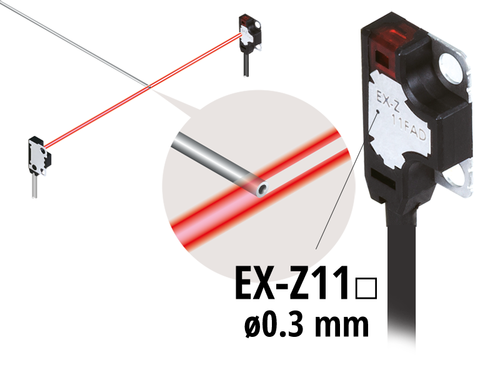 EX-Z photoelectric sensor, capable of sensing an extremely small Ø 0.3mm object without optional slit (EX-Z11□)