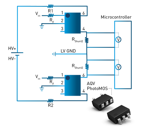 AQV PhotoMOS relay isolation monitoring