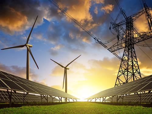 Wind turbines, solar panels, energy lines