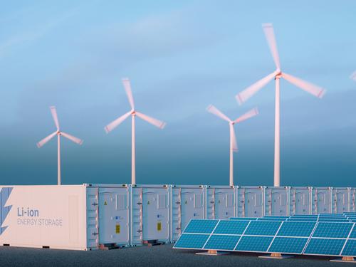 Wind turbines, solar panels, battery energy storage