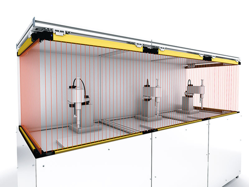 Safety solution: Connection of up to 5 SF4D safety light curtains in series