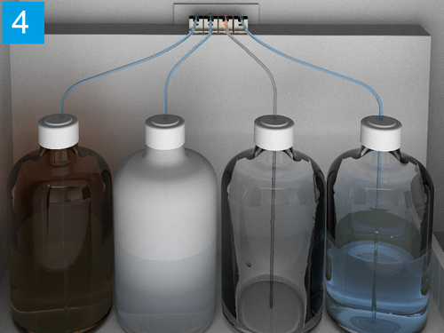 Empty detection for reagent / washing liquid