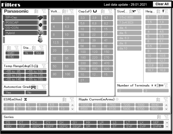 capacitors polymer electrolytic capacitor selection tool